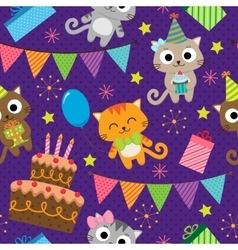 Birthday party pattern with cats vector image vector image