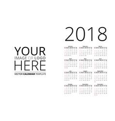 Calendar 2018 mockup vector