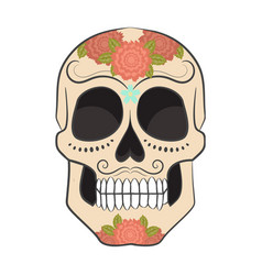 colored day of the dead sugar skull with ornament vector image vector image