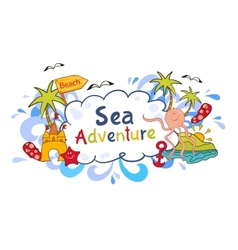 Colorful beach print with cartoon elements vector image