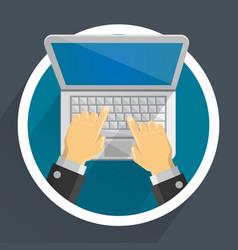 computer in hands vector image vector image