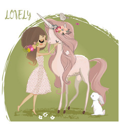 cute unicorn with girl vector image vector image