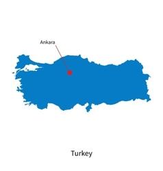 Detailed map of turkey and capital city ankara vector