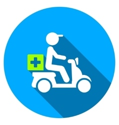 Drugs Motorbike Delivery Flat Round Icon with Long vector image
