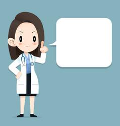 Female doctor tiny character blank talk balloon vector