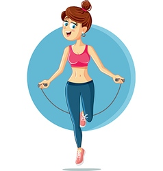 Fitness Girl Jumping Rope Cartoon vector image