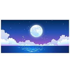 Full moon reflecting on ocean vector