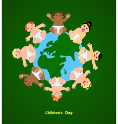 Funny children are on the planet vector image