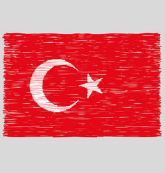 Hand drawn turkish flag vector