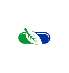 Leaf capsules icon logo vector