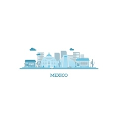 Mexico cityscape silhouette in blue colors vector image