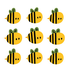 print with cute cartoon yellow bees vector image