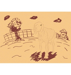 Rural Landscape with a Sheep3 vector image