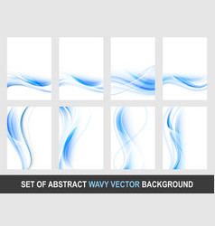 Set of abstract blue wavy background vector