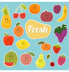 Set of fruits stickers Cartoon fruits vector image