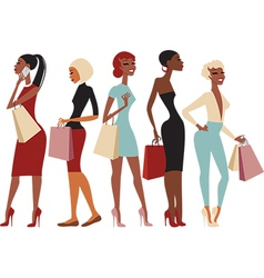 Shopping girls characters vector image vector image