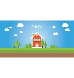 Sold house with text on top of the house vector