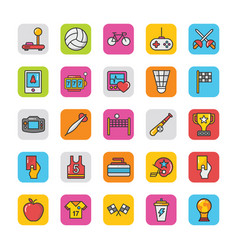 Sports and games flat icons set 3 vector