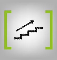 Stair with arrow black scribble icon in vector