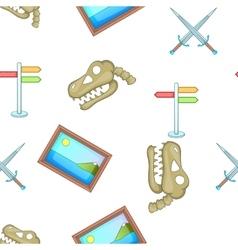 Symbols of museum pattern cartoon style vector image