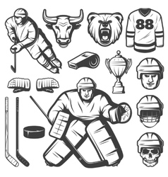 Vintage hockey elements set vector