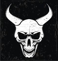 White grunge demon skulls vector