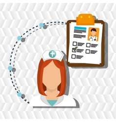 Woman medical staff clipboard vector