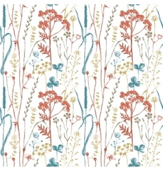 Seamless pattern with herbs and flowers vector