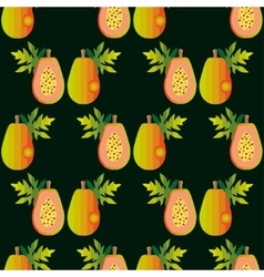 Seamless papaya pattern harvest ornament sliced vector