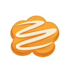 Sweet dessert biscuit with white cream topping vector