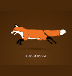 fox running graphic vector image