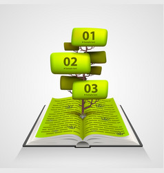 open book with a tree numbering vector image