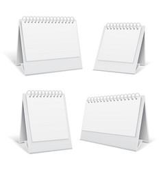 White blank table spiral 3d office calendars vector