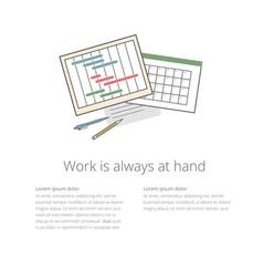 Workdesk 02 ganntchart and calendar vector