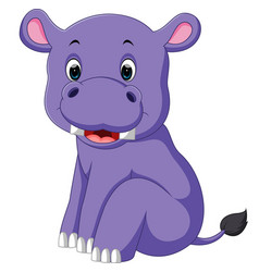 Cartoon cute baby hippo vector