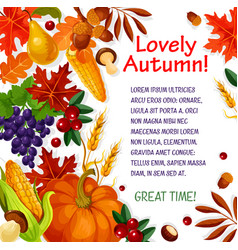 Autumn leaf vegetable and fruit poster template vector