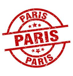 Paris red round grunge stamp vector
