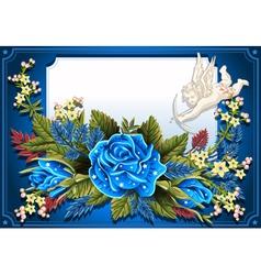 Roses Ornament on Vintage Frame vector image