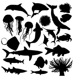 Animal creatures silhouettes vector