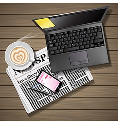 Newspaper and mobile phone with latte and laptop vector