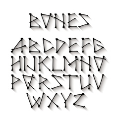 Alphabet made of crossed black bones black vector