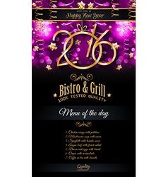 2016 happy new year restaurant menu template vector