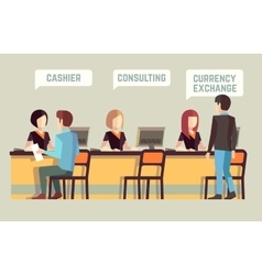 Bank interior with cashier consulting currency vector