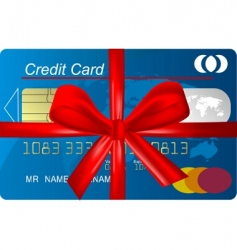 credit card with red ribbon vector image