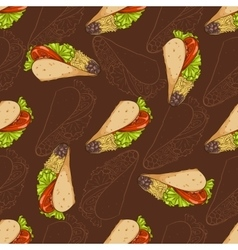 Seamless pattern scetch and color taco vector