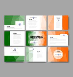 Set of 9 templates for presentation slides happy vector