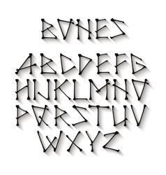 Alphabet made of crossed black bones Black vector image