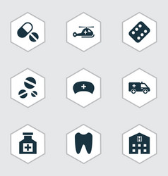 Antibiotic icons set collection of remedy claw vector