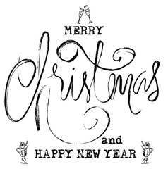 Black and White Grunge Christmas lettering New vector image