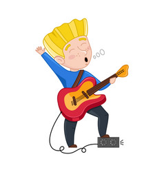 Boy sing and playing electric guitar vector